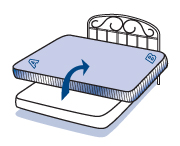 4. Lay down mattress gently as shown